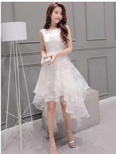 gaun pesta malam putih lengan panjang baju wanita online gaun pesta korea depan pendek belakang panjang warna putih