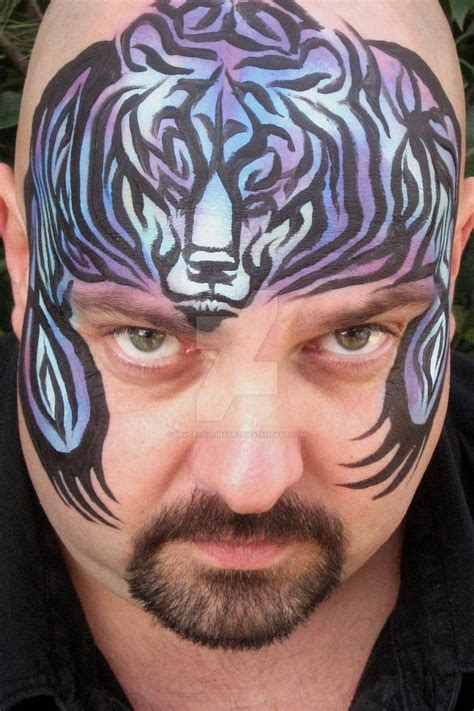 tribal pattern face paint tribal bear face painting by brucecollinsart on deviantart