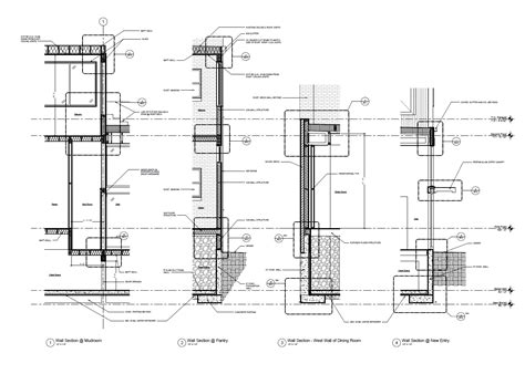 wall sections indicate glass wall on a floor plan modern house