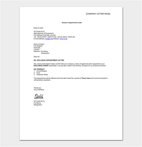 representative appointment letter template business appointment letter template 13 sles formats