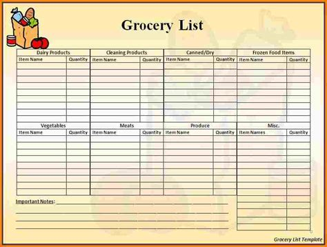 grocery list word template grocery list template word authorization letter pdf