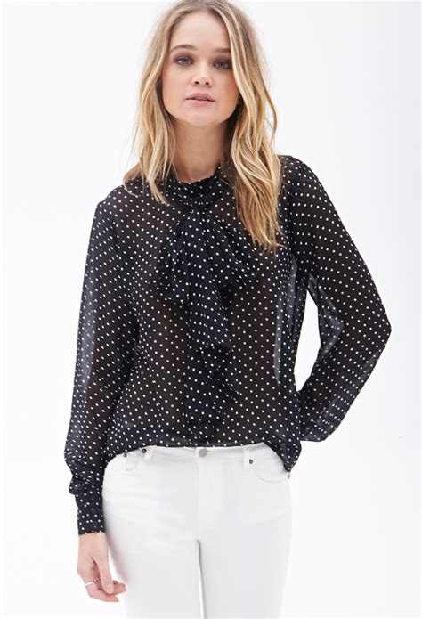 Forever 21 Blouse Murah Lyst Forever 21 Sheer Polka Dot Blouse In Black