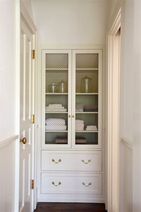 built in bathroom linen cabinets chicken wire cabinet doors transitional kitchen