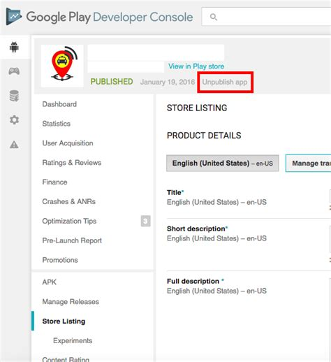 play store console how to unpublish an app in play developer console