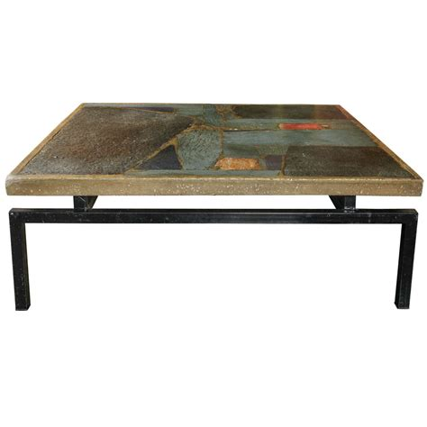 paul kingma coffee table with incrustation of slate and