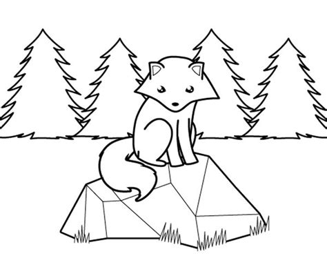 dibujos para colorear zorro zorro polar en el bosque dibujo para colorear e imprimir