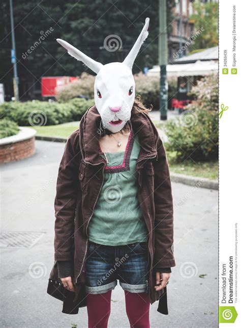 rabbit head woman stock image image  humor strange