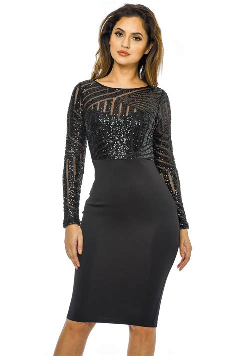 Parisian 2in1 Ax Womens Midi Bodycon Dress Black 2 In 1 Sequin Top
