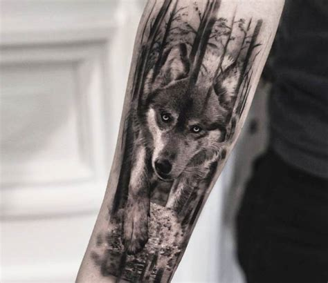 wolf forest tattoo wolf in forest by bro studio photo no 18833