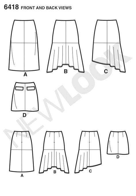 pattern new line new look 6418 misses skirts sewing pattern