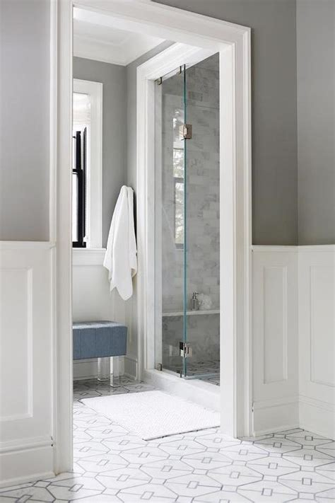 White Wainscoting Bathroom by Charcoal Gray Bathroom Walls With White Wainscoting