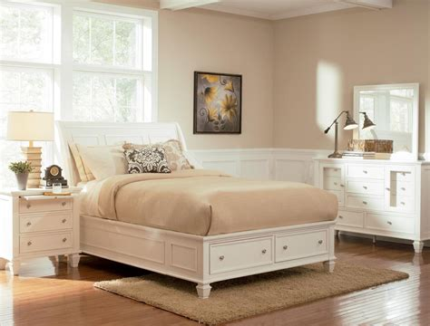 sandy beach white sleigh storage bedroom set 201309 from