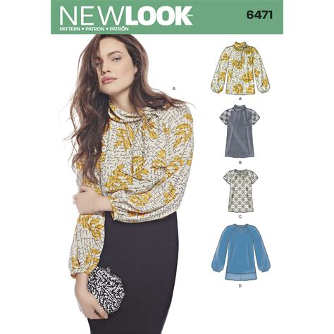 new look 6471 misses blouses and tunic with neckline