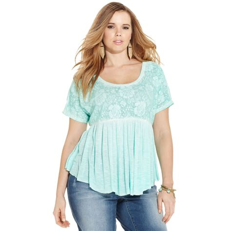 Top Baby Doll plus size shortsleeve lace babydoll top in