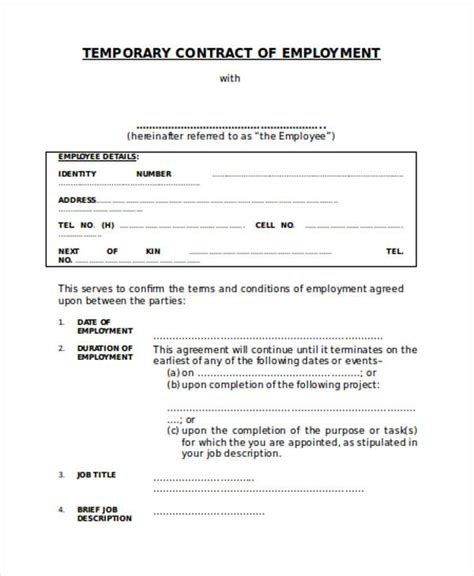 temporary employment contract template free work contract agreement an interior design contract