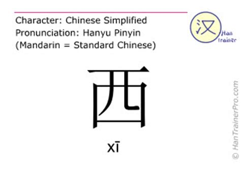english translation of 西 ( xi / xī ) west in chinese