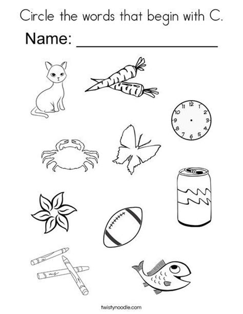7 letter words starting with c circle the words that begin with c coloring page twisty 1060