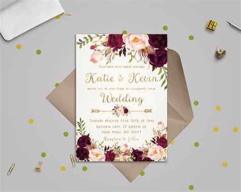 Etsy Wedding Templates Floral Wedding Invitation Template Wedding Invitation