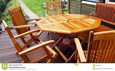 wood patio furniture stock image image  garden glass