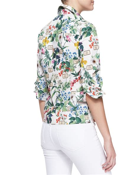 Gorgeous Botanical Print Tops by Carolina Herrera Botanical Printed Buttondown Blouse In