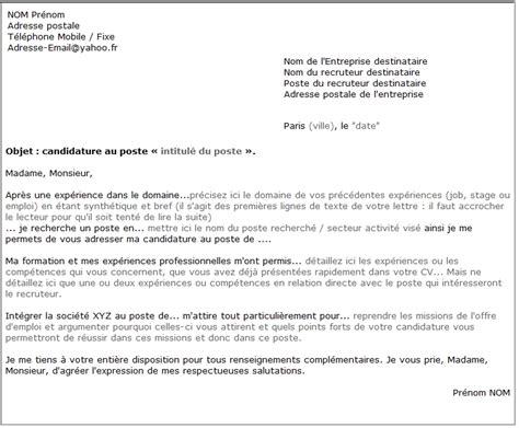 lettre de motivation modèle type lettre de motivation banque