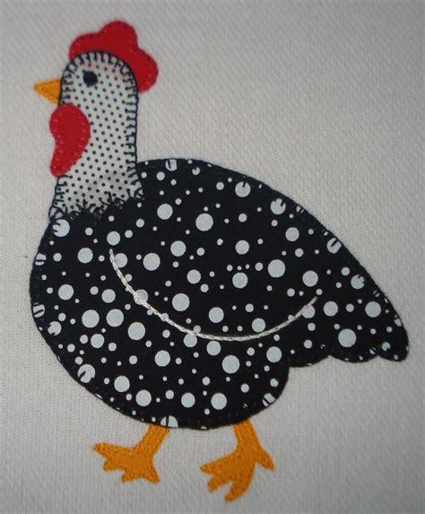 Patchwork Chickens - pano de prato galinha d angola galinhas