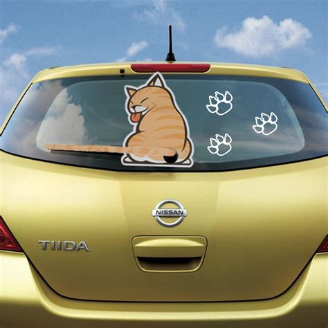 Auto Sticker Katze by Car Sticker Print Cat With A Wagging Tail Decal For Rear