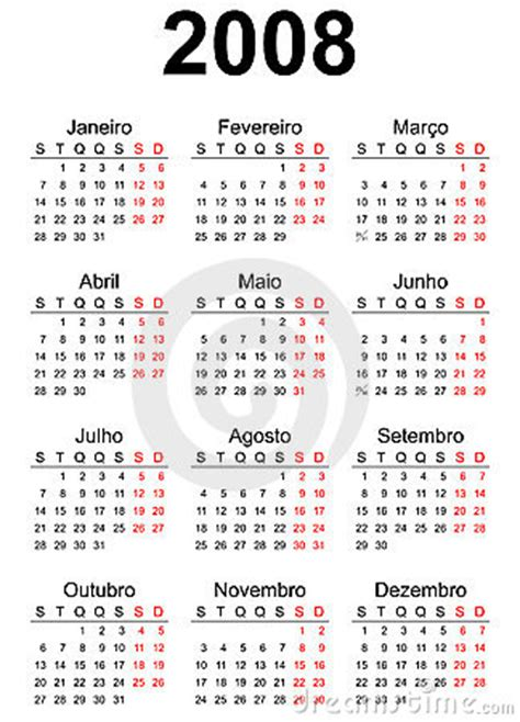 Calendario Ano 2008 Calendario 2008 Fotografia Stock Immagine 3810982