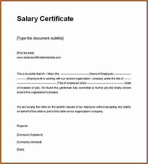 5 simple salary certificate format in word simple