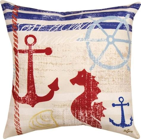 Nautical Outdoor Pillows by Quot Nautical Quot Seahorse Print Indoor Outdoor Throw