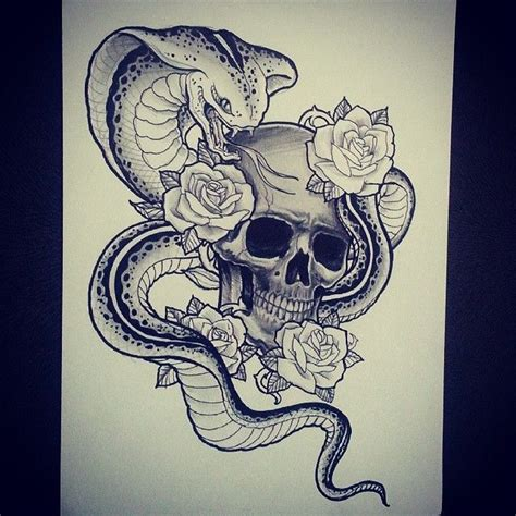 skull rose snake tattoo cobra draw zoeken designs