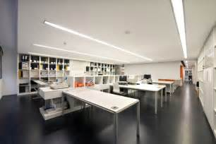 Black office studio interior futuristic modern office cubicle with
