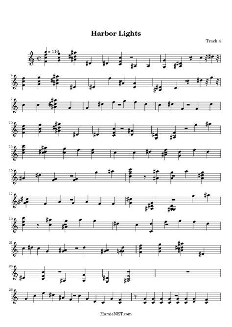 Harbour Lights Lyrics by Harbor Lights Sheet Harbor Lights Score Hamienet