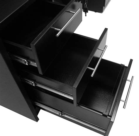 Black Reception Desk W Frosted Glass Panel Black Reception Desk