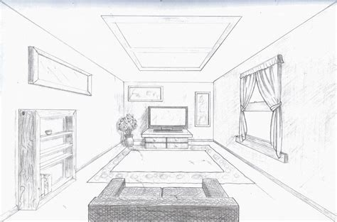 draw room room in perspective single point perspective room by a rob perspective