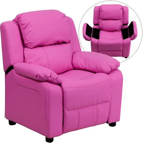 kids pink recliner deluxe heavily padded hot pink vinyl kids storage arm