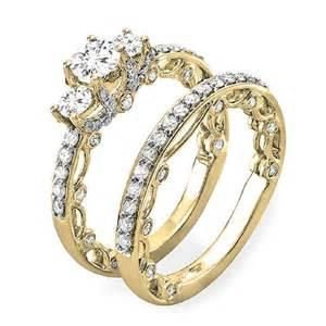 gold wedding set 1 65 carat ctw 14k gold vintage bridal ring engagement set matching