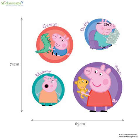 peppa pig wall stickers peppa and family wall sticker badges stickerscape uk