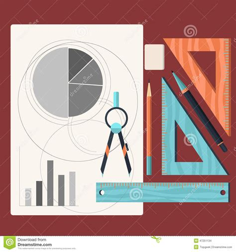draw tool design design drawings and drawing a project by pencil stock