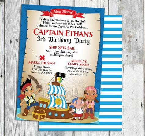 printable birthday invitations jake and the neverland pirates jake and the neverland pirates invitations printable boys