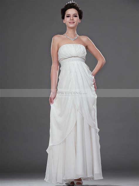 Empire Brautkleid by Ankle Length Strapless Draped Chiffon Empire Wedding Dress