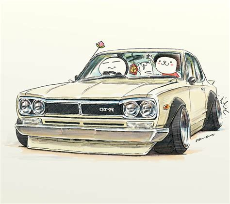 cartoon car drawing car illustration crazy car art jdm japanese old