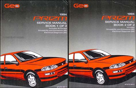 car owners manuals free downloads 1994 geo prizm free book repair manuals 1994 geo prizm repair shop manual original 2 volume set
