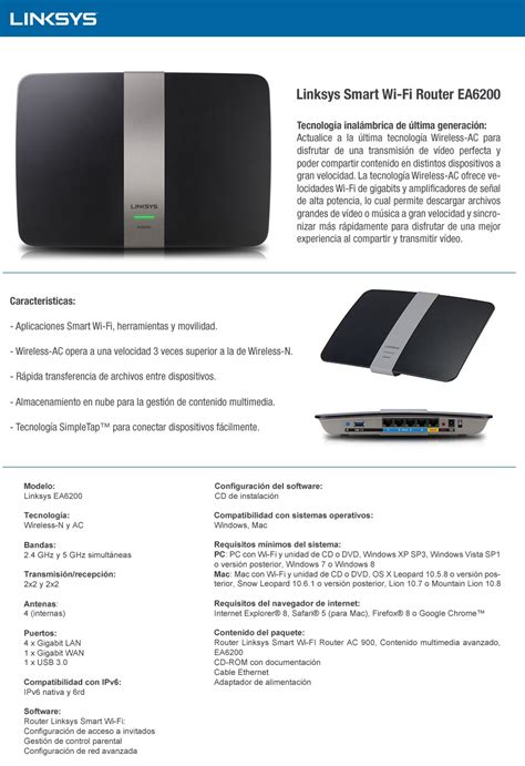 Linksys Smart Wifi Router Ac900 router smart wifi linksys ea6200 dualband ac900 usb 3 oferta palmoutlet fast retail