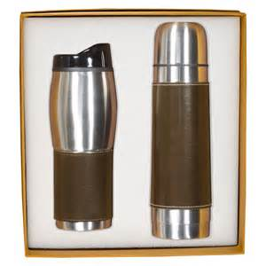Leather wrapped thermos tumbler set promotional thermoses