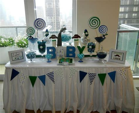 Baby Shower Tables by Baby Shower Table Blue And Green Baby Shower