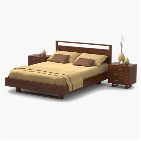 cherry wood bed 3d model bed cherry wood