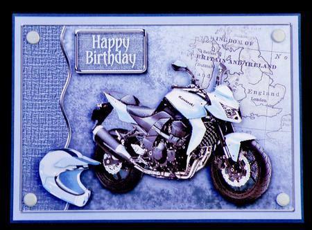 printable birthday cards motorcycle pale blue motorbike decoupage birthday photo by suzi cooper