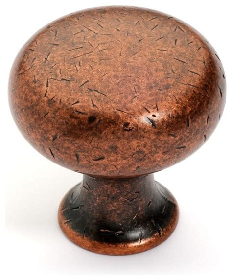 Round cabinet knob distressed antique copper transitional cabinet and drawer knobs by door