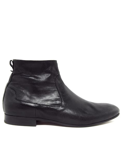 hudson boots h by hudson fabian zip boots in black for lyst